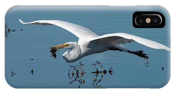 Great Egret Flying With Fish IPhone Case