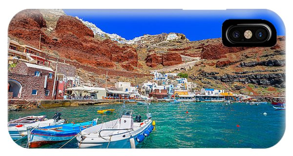 Fishing Boat iPhone Case - Greece Santorini Island In Cyclades by Korpithas
