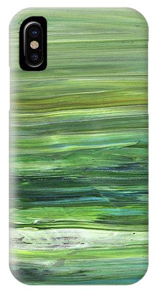 Organic Abstraction iPhone Case - Green Abstract Meditative Brush Strokes II by Irina Sztukowski