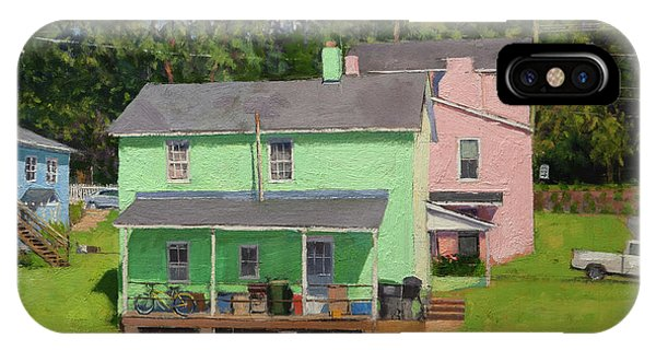 Neighborhood iPhone Case - Green And Pink Houses In Fifeville by Edward Thomas