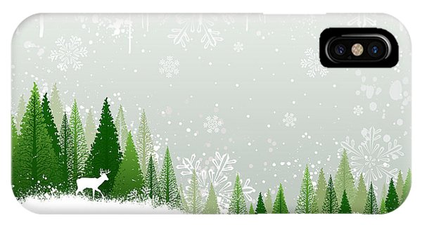 Digital Image iPhone Case - Green And White Winter Forest Grunge by Mike Mcdonald