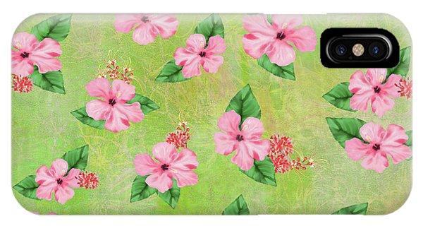 Green Batik Tropical Multi-foral Print IPhone Case