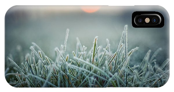 Green Grass With Morning Frost And Red Phone Case by Chromakey