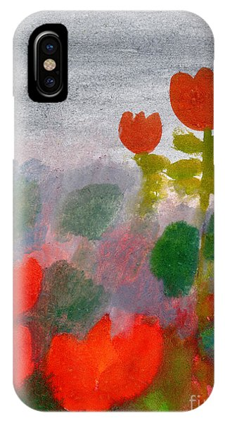 Grey Background iPhone Case - Green Life. Nature. Flowers. Red by Diana Lapshina
