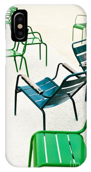 Park Bench iPhone Case - Green Metallic Chairs In The City Park by Anatoli Styf