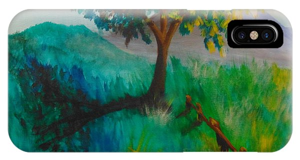 IPhone Case featuring the painting Green Pastures by Saundra Johnson