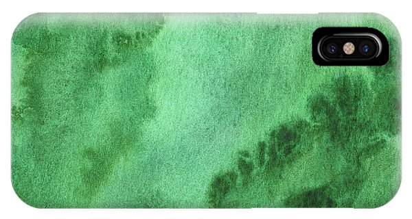 Organic Abstraction iPhone Case - Green Splashes And Glow Abstract Watercolor  by Irina Sztukowski