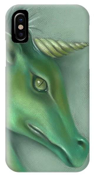 IPhone Case featuring the pastel Green Water Horse Unicorn by MM Anderson
