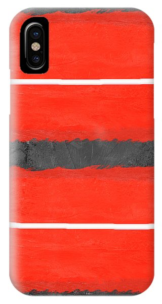 Century iPhone Case - Grey And Red Abstract IIi by Naxart Studio