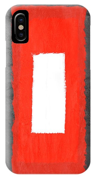 Century iPhone Case - Grey And Red Abstract Iv by Naxart Studio