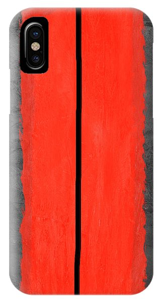 Century iPhone Case - Grey And Red Abstract V by Naxart Studio