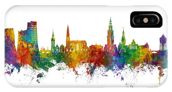 Holland iPhone Case - Groningen The Netherlands Skyline by Michael Tompsett