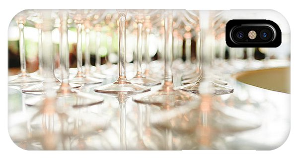 Group Of Empty Transparent Glasses Ready For A Party In A Bar. IPhone Case