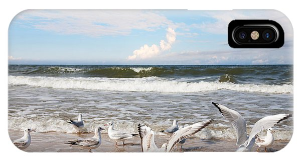 Zoology iPhone Case - Group Of Seagulls Ower Sea by Majeczka