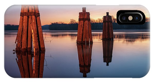 Group Of Three Docking Piles On Connecticut River IPhone Case