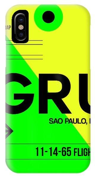 Brazil iPhone X Case - Gru Sao Paulo Luggage Tag I by Naxart Studio