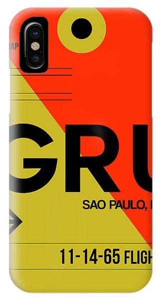Brazil iPhone X Case - Gru Sao Paulo Luggage Tag II by Naxart Studio