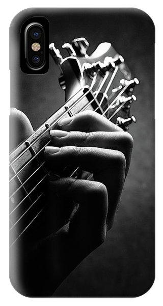 Electric Guitar iPhone Case - Guitarist Hand Close-up by Johan Swanepoel