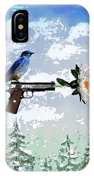 Bluebird Of Happiness- Flower In A Gun IPhone Case