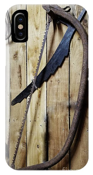 Hack Saw On Barn Wall IPhone Case