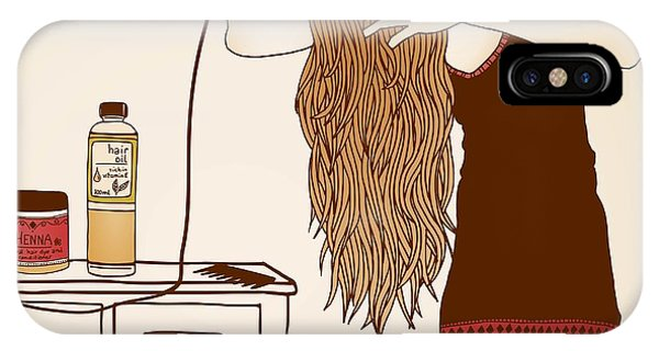 Hair Care Illustration No. 23 Colored Phone Case by Franzi