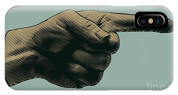 View Point iPhone Case - Halftone Pointing Finger. Engraved by Jumpingsack