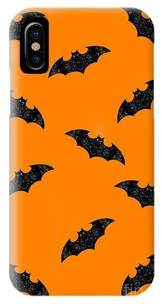 IPhone Case featuring the mixed media Halloween Bats In Flight by Rachel Hannah