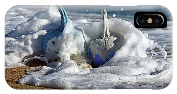 Halloween Blue And White Pumpkins In The Surf IPhone Case