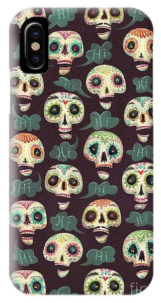Dark Humor iPhone Case - Halloween Pattern by Runa Anastasiya Rudaya