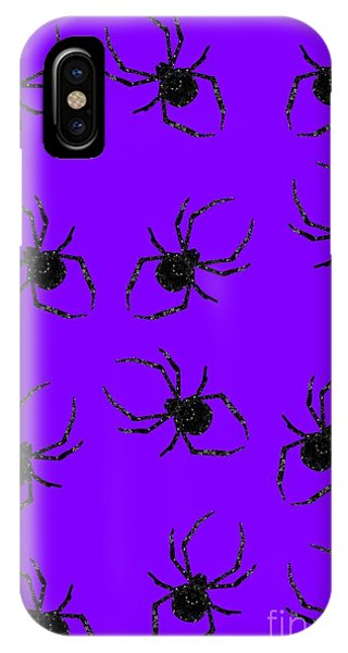 IPhone Case featuring the mixed media Halloween Spiders Creeping by Rachel Hannah