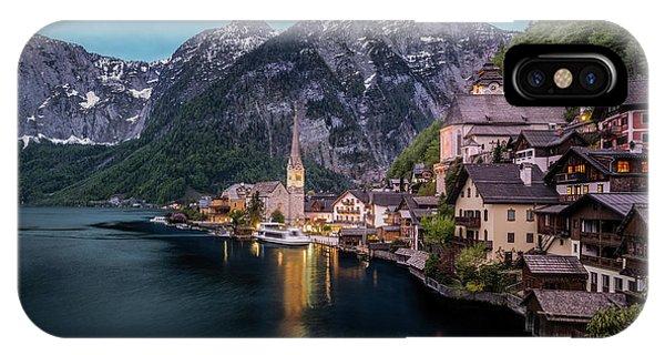 IPhone Case featuring the photograph Hallstatt Village At Dusk, Austria by Milan Ljubisavljevic