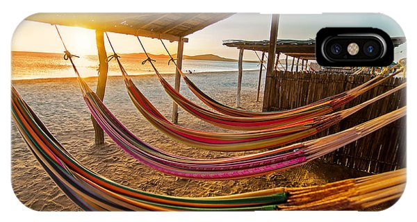 Colombian iPhone Case - Hammocks On A Beach At Sunset by Jess Kraft