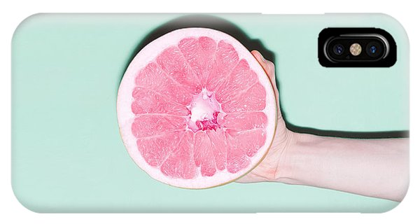 Grapefruit iPhone Case - Hand And Grapefruit, Vanilla, Fashion by Evgeniya Porechenskaya