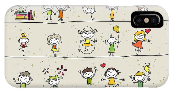 Small iPhone Case - Hand Drawing Cartoon Happy Kids Playing by Atthameeni