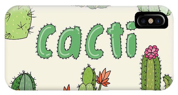 Shrub iPhone Case - Hand Drawn Cactus Icons. Vector by Maria Sem