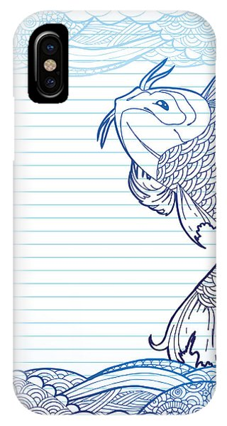 Sketch Pen iPhone Case - Hand Drawn Koi And Waves On Lined Paper by Artplay