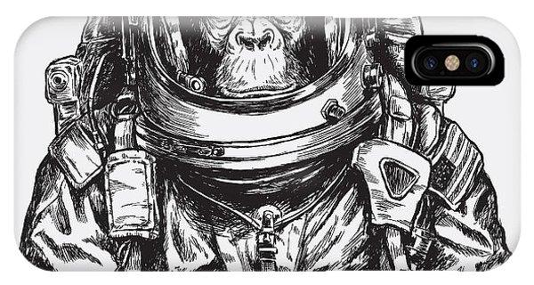 Hand Drawn Monkey Astronaut Vector Phone Case by Tairy Greene