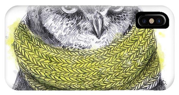 Winter Fun iPhone Case - Hand Drawn Pencil Animal Illustration by Maria Sem