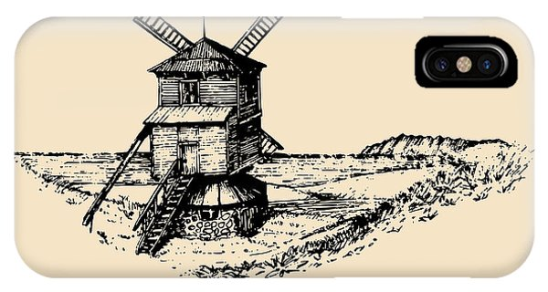 Irish iPhone Case - Hand Drawn Sketch Of Rustic Windmill At by Vlada Young