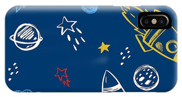 Planet iPhone Case - Hand Drawn Space Background by Nadezda Barkova
