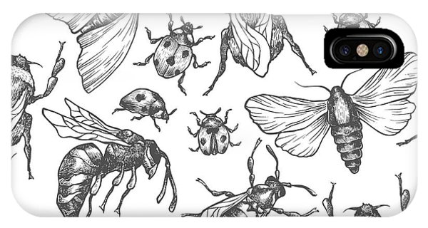 Sketch Pen iPhone Case - Hand Drawn Vector Pattern With Insects by Olga Olmix