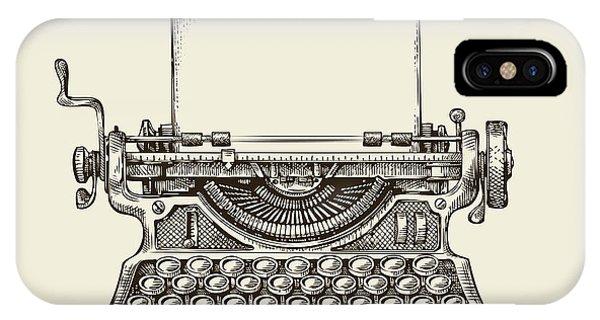 Drawn iPhone Case - Hand Drawn Vintage Typewriter. Sketch by Ava Bitter