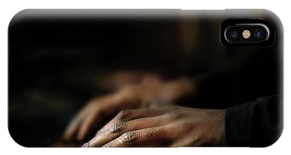 Angle iPhone X Case - Hands Playing Piano Close-up by Johan Swanepoel