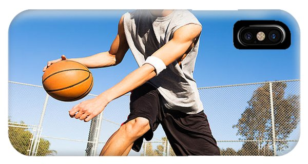 Physical iPhone Case - Handsome Male Playing Basketball Outdoor by Pkpix