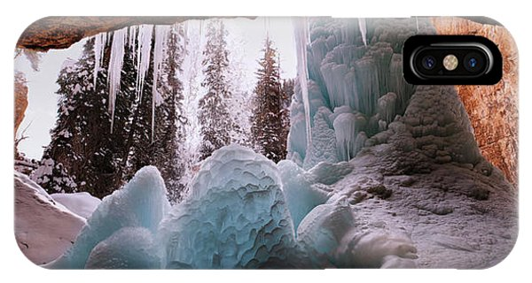 IPhone Case featuring the digital art Hanging Lake Spouting Rock At Glenwood Canyon Glenwood Spring by OLena Art Brand
