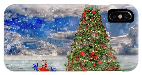 Avian iPhone Case - Happy Christmas Parrot by Betsy Knapp
