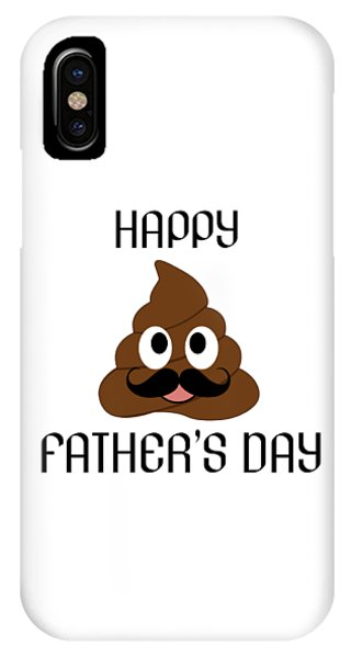 Toilet Humor iPhone Case - Happy Fathers Day- Poop Emoji With Mustache by Shawlin