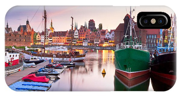 Beautiful Sunrise iPhone Case - Harbor At Motlawa River With Old Town by Patryk Kosmider