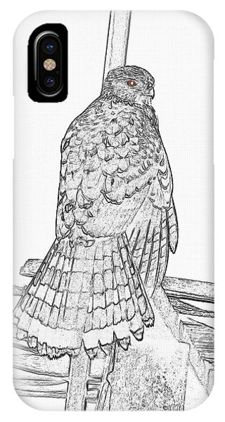 IPhone Case featuring the photograph Hawk Photo Sketch by Debbie Stahre
