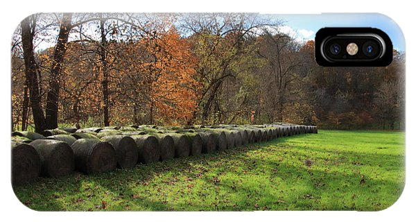 IPhone Case featuring the photograph Hay Bales On An Autumn Day by Angela Murdock